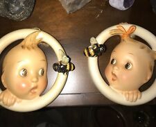 Set of 2 Hummel Wall Plaque Figurines - Boy and Girl Baby Bee Rings 30/Oa,30/Ob