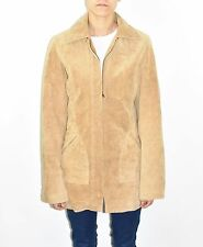 Brown Leather BERSHKA Zip Semi Fitted Hips Length Women's Coat Jacket Size L