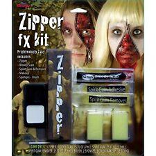 Halloween Zombie Cremallera Cara Kit Cremallera Dientes colmillos Special FX Maquillaje Gore