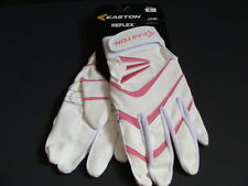 Nwt Easton Reflex Adult Batting Gloves Large White Pink Softball Leather Women's