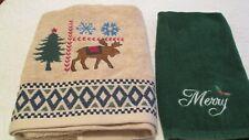 2 Pcs Christmas Terry Cloth Bath Towel Fingertip Moose Holly Merry Tan Green