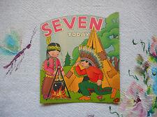 Fab unused vintage birthday card 'seven today' - indian children - no envelope