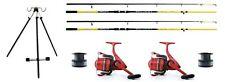 2 Sea Fishing Lineaeffe 12ft  Beachcaster rods & 2 Ocean Reels + line & Tripod
