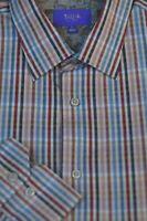 Tallia Uomo Men's Gray Blue Brown Check Cotton Casual Shirt L Large
