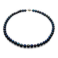 8mm Genuine Black Freshwater Pearl Necklace Pacific Pearls® Gifts For Girlfriend