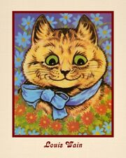 "A 10"" x 8"" Art Print Reproduction Louis Wain - Happy Smiling Cat"