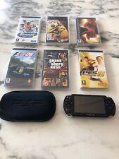 Sony PlayStation PSP - 2000 Piano Black Original & Cover 6 Games bundle