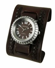 Nemesis Brown Wheelman Watch with Brown Wide Weaving Leather Cuff Band Vintage