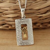Solid 925 Sterling Silver Celtic Cross Pendant with Gold Vermeil Necklace Chain
