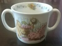 Rare Royal Doulton Classic Pooh Double Handle Mug Winnie Pooh Piglet MINT vtg