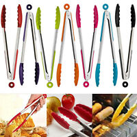 New Silicone Stainless Steel BBQ Cooking Food Salad Serving Tong Kitchen Utensil