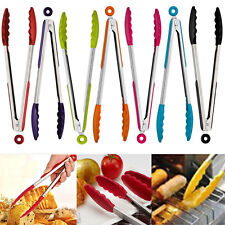 Hot 1Pcs Mini Kitchen Tools Tongs Stainless Steel Salad BBQ Cooking Food Utensil