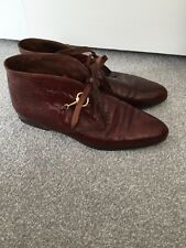 Russell & Bromley Brown Leather Vintage Ankle Boots Moc Croc Size:5 Euro:38