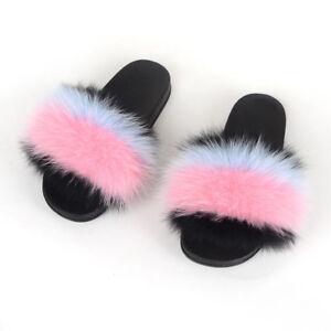 Luxury Lady Real Raccoon Fox Fur Slides Slippers Women Shoes Flat Indoor Sandal
