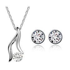 Diamante White Angel Wings Bridal Jewellery Set Stud Earrings & Necklace S491