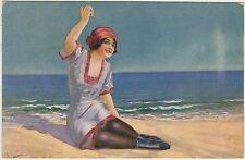 DONNINA IN SPIAGGIA GLAMOUR ART DECO' - ILLUSTRATORE FRANZONI?? 1921