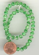 50 Vintage KELLY GREEN GIVRE Glass Beads 6mm #244E