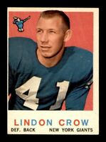 1959 Topps Football Set Break # 156 Lindon Crow EX *OBGcards*