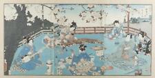 Japanese triptych woodblock print, Kunisada II. Lot 437