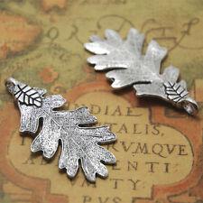 5pcs Oak leaf Charms silver 2 sided Oak leaf charm pendant 48x26mm