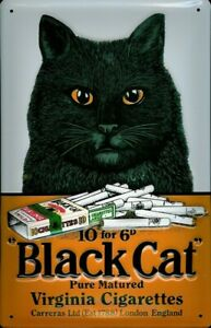 BLACK CAT VIRGINIA CIGARETTES LONDON EMBOSSED METAL ADVERTISING SIGN 30x20cm