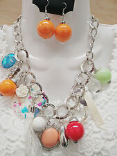 Charm Fashion Multi Pendant Silver Chain Link Chunky Statement Necklace Earrings
