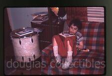 1961 35mm amateur Photo slide Girl reading book  Drums Globe