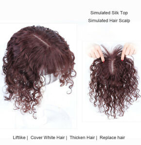 Short Curly Human Hair Toupee T-shape Topper Clip in Hairpiece Hair Extensions