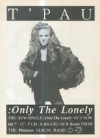 """(BONEBK10) POSTER ADVERT(A4 11X8"""") T' PAU - ONLY THE LONELY - SINGLE"""