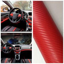 3D Red Carbon Fiber Vinyl Wrap Sticker Car Interior Accessorie Console Dashboard