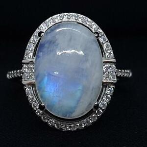 World Class 7.20ct Moonstone & Diamond Cut White Sapphire 925 Silver Ring Size 9