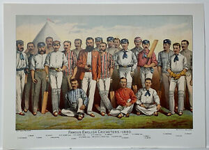 Famous English Cricketers 1880 print