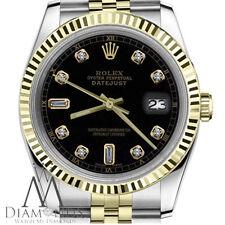 Rolex 26mm Datejust 2 Tone Black 8+2 Diamond Accent Dial Ladies Watch