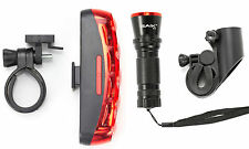 Cree LED Bicycle Front & Rear Set Bike Lights Waterproof MTB Road Hybrid Light