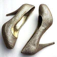 668c20b4a52 Steve Madden Gold Glitter High Heels Size 10 ROUND TOE