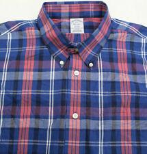 Brooks Brothers Non Iron Supima Mens Shirt 2XL Plaid Button Long Sleeve