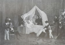 1897  Antique Art Print Death of Napoleon I eng Henry Wolf Charles Baron Steuben