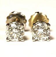 18k white gold .83ct SI2 H round diamond stud earrings 1g screwbacks