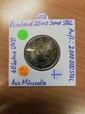 """1 x Finnland 2005  2 Euro Sondermünze """" 60 Jahre UNO """" aus Münzrolle Bankfrisch"""