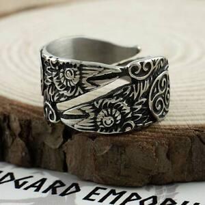 Viking Raven Ring Adjustable Stainless Steel Mens Jewellery