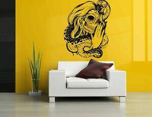 Wall Vinyl Sticker Decals Mural Room Design Scull Girl Skeleton Snake bo625