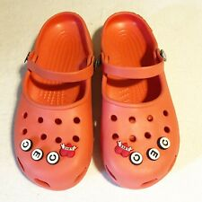 Crocs Womens 6 Pink Mary Jane Slip On Clogs Mules Buttons