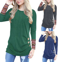 Women Long Sleeve Loose Blouse Button Patchwork Round Neck Tunic T-Shirts Tops