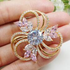 Art Nouveau Gorgeous Pink Flower Bouquet Zircon Crystal Woman Brooch Pin
