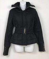 Patrizia Pepe Italian Puffer Jacket Black Full Zip Belted Womens S/M