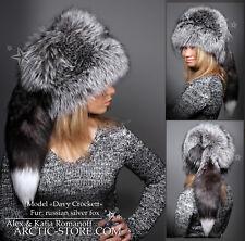 Davy Crockett women's fur hat Russian silver fox, tail detachable