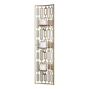 Elegant Gold Mirrored Wall Sconce | Curved Concave Modern Candle Tall Column