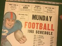 1965 RARE Vintage TEXAS High School Football Schedule Poster Advertising MUNDAY