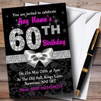 Pink Black Silver Diamond 60Th Birthday Party Personalised Invitations