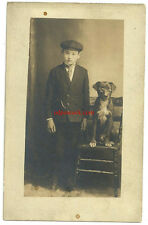 Dog wearing glasses comic prop chair vintage real photo postcard boy rppc beagle